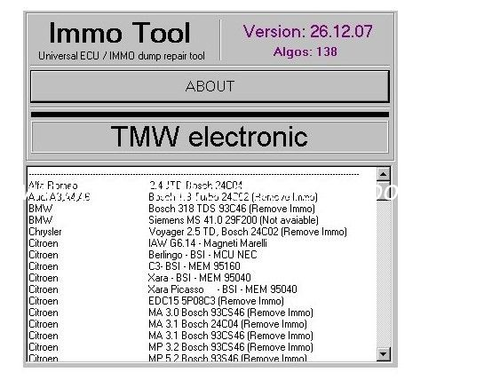 IMMO TOOL V26.12.2007, Automotive Diagnostic Software To Repair ECUs, Immobilisers